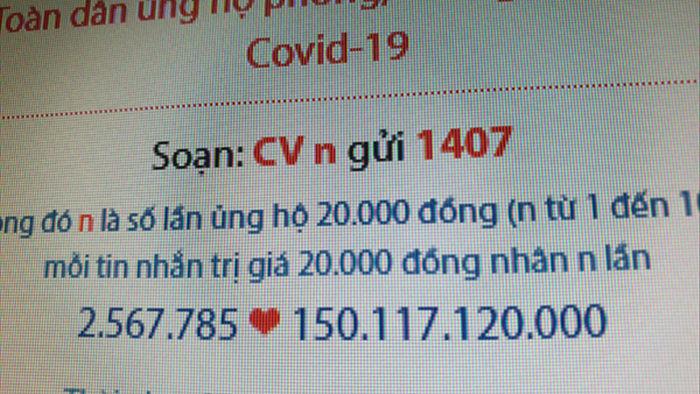 Tiền ủng hộ quỹ phòng, chống Covid-19 vượt mốc 150 tỷ đồng