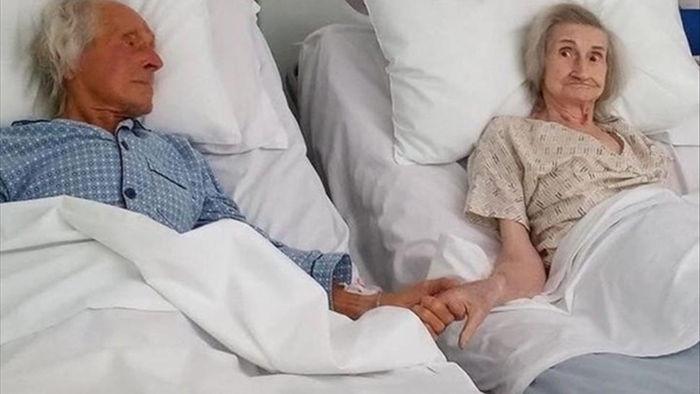 Khoảnh khắc vợ chồng nắm chặt tay nhau trước giây phút sinh tử gây sốt
