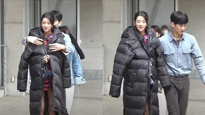 Kim Soo Hyun khoác áo cho Seo Ye Ji trong hậu trường phim