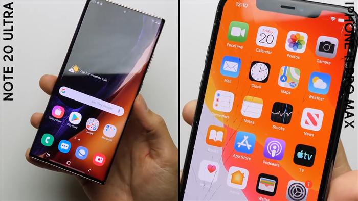 Đọ độ bền Galaxy Note20 Ultra và iPhone 11 Pro Max khi thả rơi tự do - 1