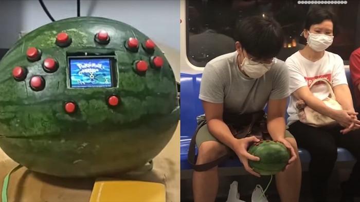 Tài tình chàng sinh viên lấy dưa hấu làm... máy chơi game - 1