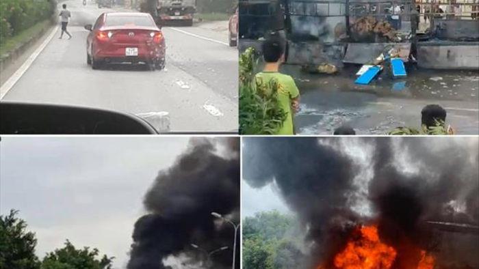 Xe tải bốc cháy dữ dội, nhiều con bò bị lửa thiêu chết - 1