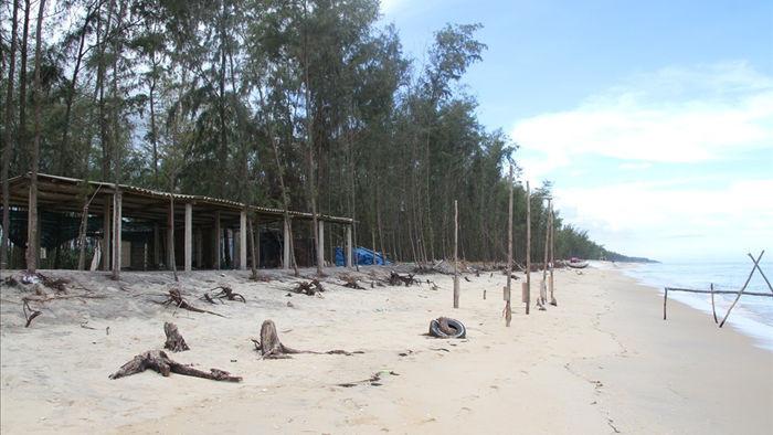 Bờ biển sạt lở nặng sau cơn bão số 5 - 1