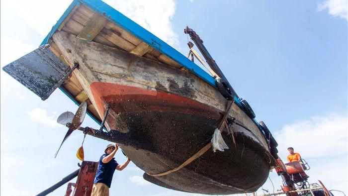 Hàng trăm tàu thuyền của ngư dân Đà Nẵng được đưa lên bờ tránh bão số 9 - 2