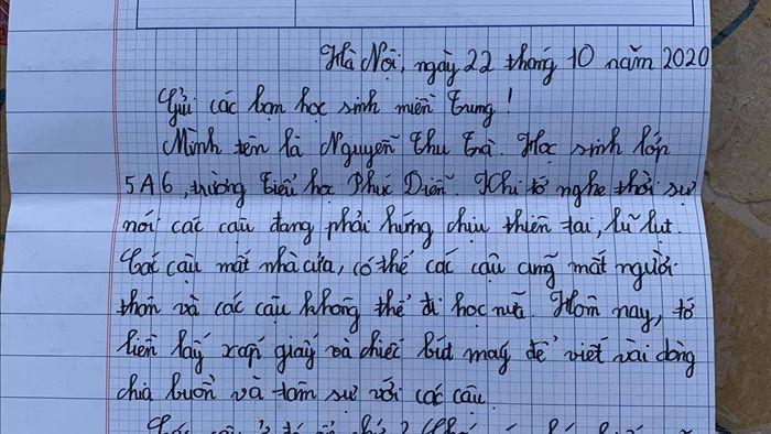 Cảm động bức thư của học sinh lớp 5 ở Hà Nội gửi các bạn vùng lũ - 2