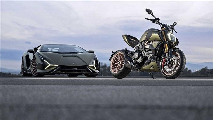 """Lấy cảm hứng từ chiếc siêu xe thương mại hybrid đầu tiên của Lamborghini, Ducati Diavel 1260 sở hữu nhiều đường nét, phối màu tương tự như chiếc siêu xe đến từ """"bò tót""""."""