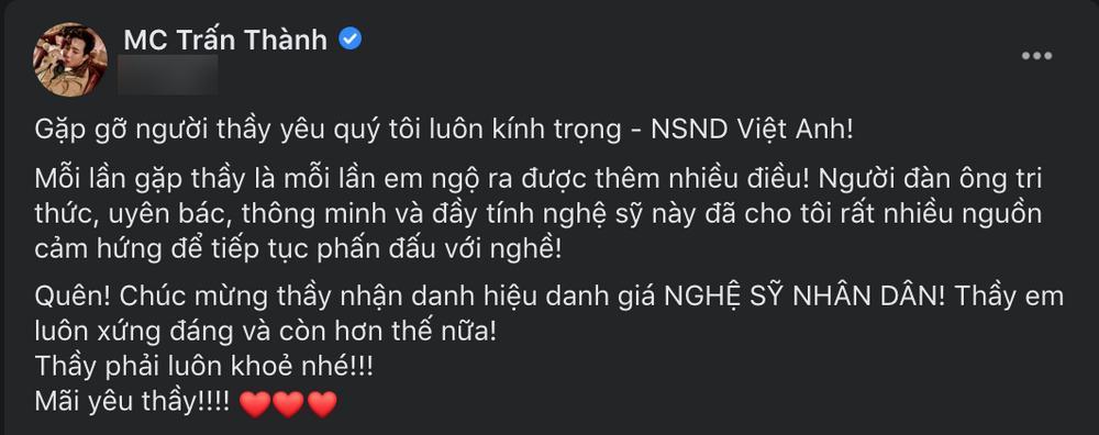 Sau ồn ào với Cát Phượng, NSND Việt Anh hội ngộ Trấn Thành - Trịnh Thăng Bình: Đàn em hết mực nể trọng!-2