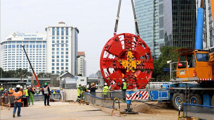 Ráp xong quái vật 860 tấn sẵn sàng đào hầm đường sắt Nhổn - ga Hà Nội - 3