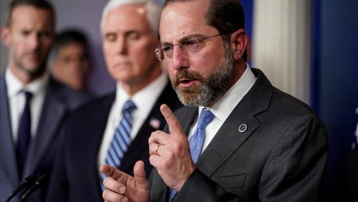 Bộ trưởng Y tế và Dịch vụ Nhân sinh Mỹ Alex Azar. Ảnh: Reuters