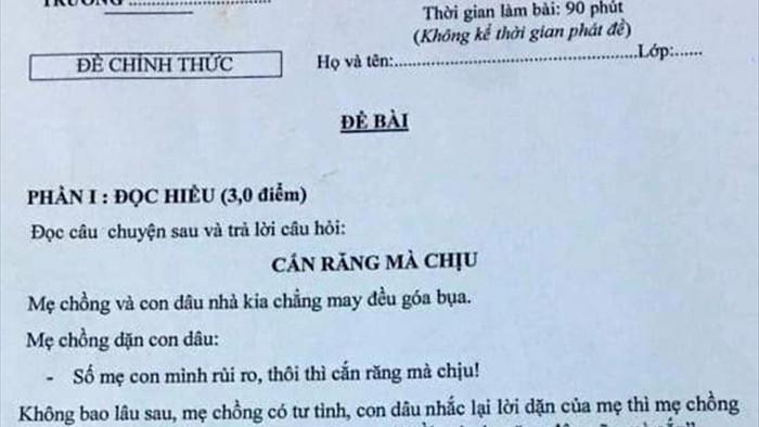 Giáo viên bị kiểm điểm vì ra đề Ngữ văn có nội dung nhạy cảm
