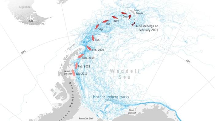 Tảng băng trôi lớn nhất từng được ghi nhận vỡ ra thành vô số mảnh, từng dài rộng cả trăm kilomet giờ chỉ còn ... vài chục kilomet - Ảnh 3.