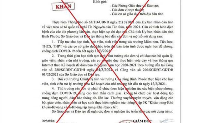 6 tỉnh, thành bị giả công văn cho học sinh nghỉ học