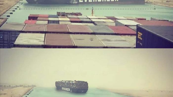 Ngập tràn ảnh chế siêu tàu Ever Given mắc kẹt trên kênh đào Suez
