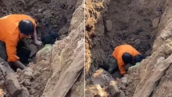 Đang xác minh việc đào đường phát hiện 'người đàn ông dưới lòng đất'