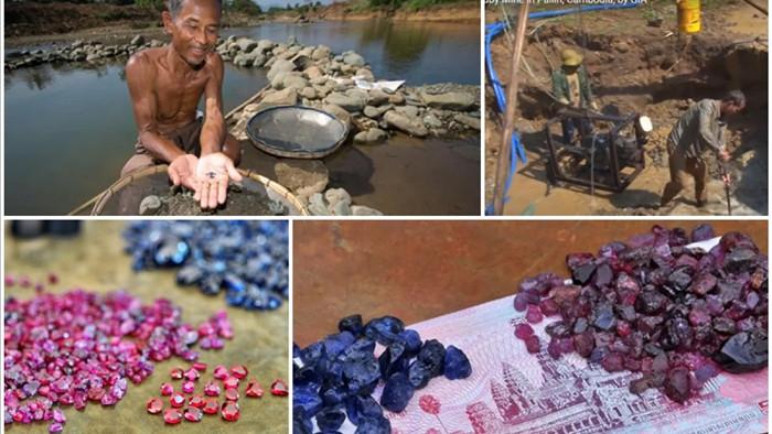 Mỏ đá quýSapphireởPailin, Cambodia, giáp biên giới Thái Lan được khai thác hơn 1 thế kỷ qua.
