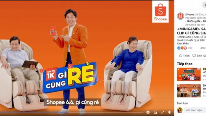 Một video quảng cáo của nghệ sĩ Hoài Linh còn được giữ lại trên fanpage Shopee. (Ảnh: Fanpage Shopee)