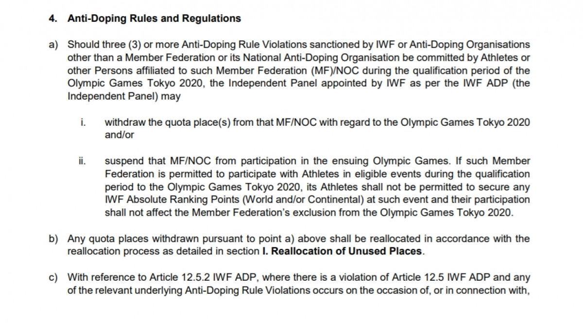 Quy định chống doping tạiđiều lệ thi đấu vòng loại Olympic 2020