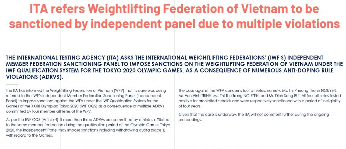 ITA yêu cầu IWF ra án phạt thích hợp với cử tạ Việt Nam