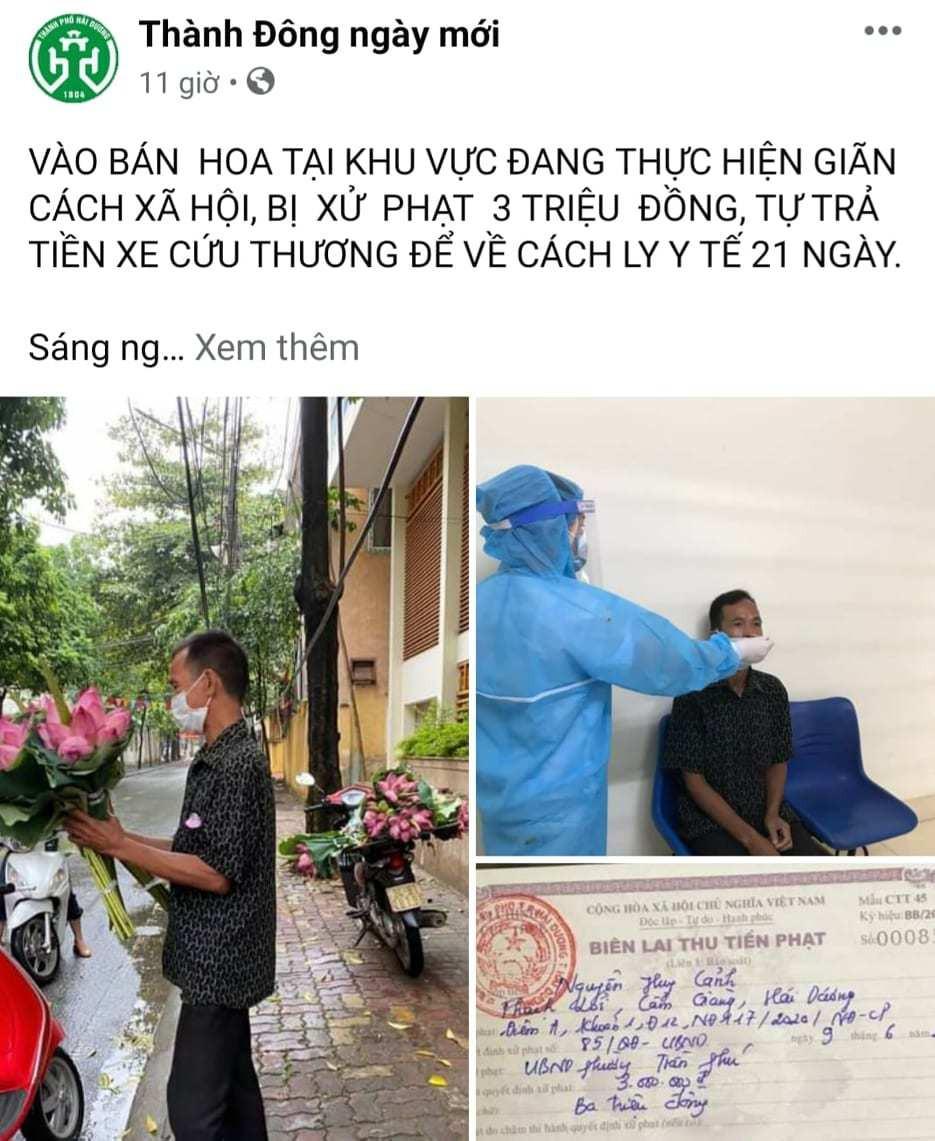 Người đàn ông nghèo Hải Dương bán hoa sen bị phạt, nhiều người thương cho tiền-3