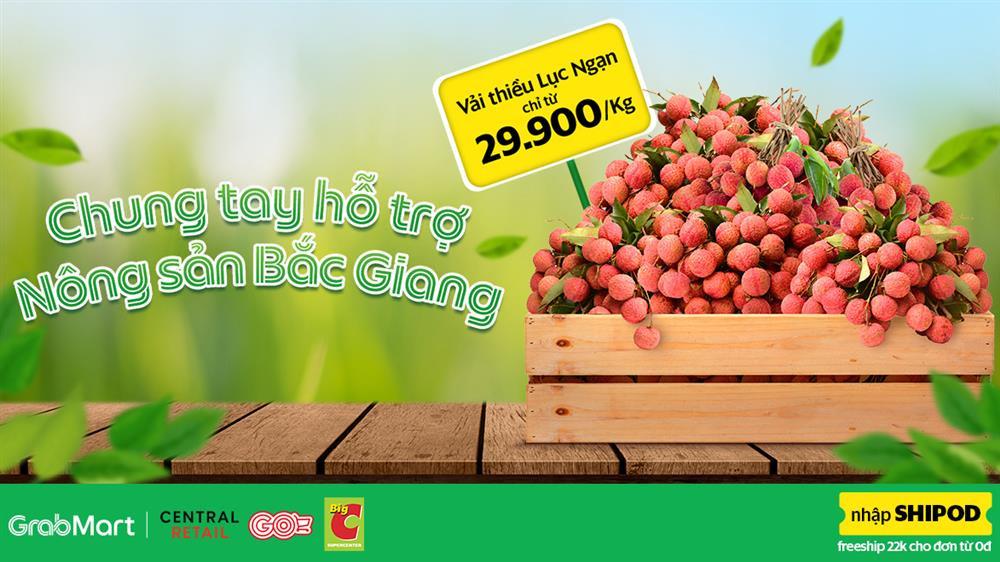 Vải thiều Bắc Giang được bán trên GrabMart với giá chỉ từ 29.900/kg, giảm 22.000đ phí giao hàng-1