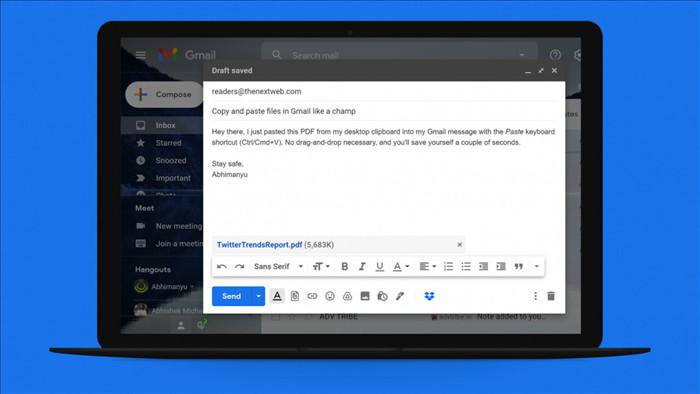 Mẹo đính kèm file vào Gmail chỉ bằng thao tác Copy, Paste-1