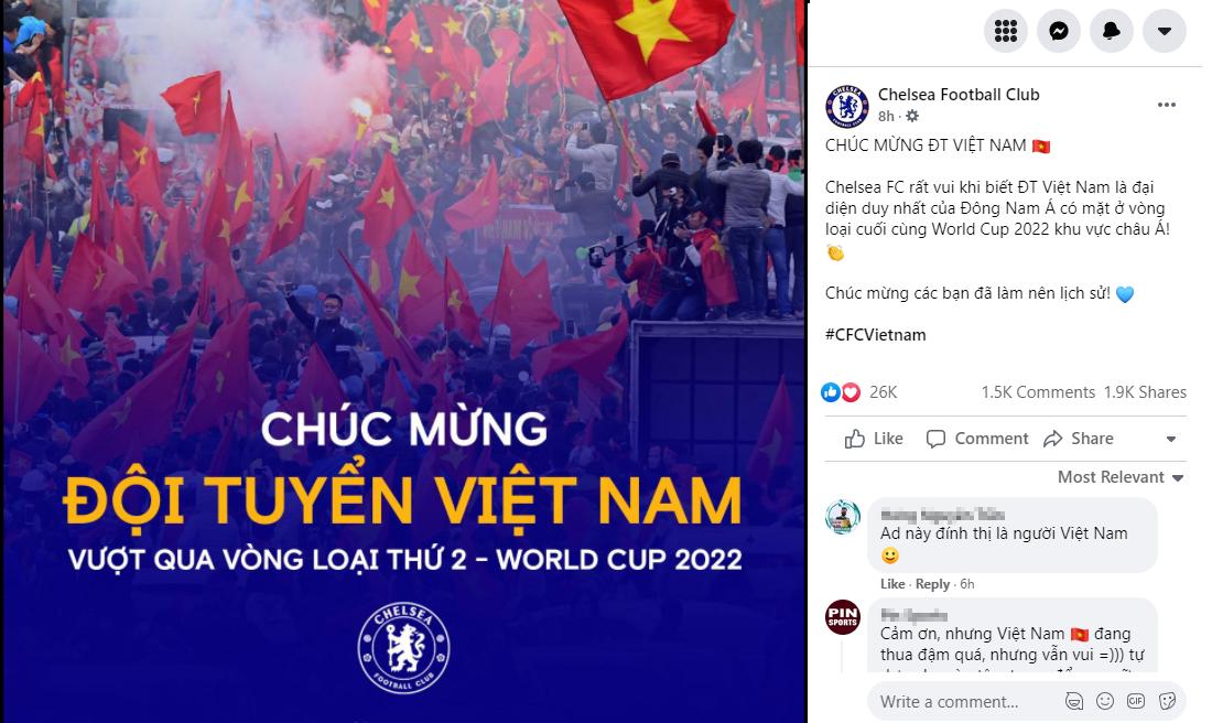 Fanpage Chelsea chúc mừng Việt Nam vào vòng loại cuối của World Cup 2022-1