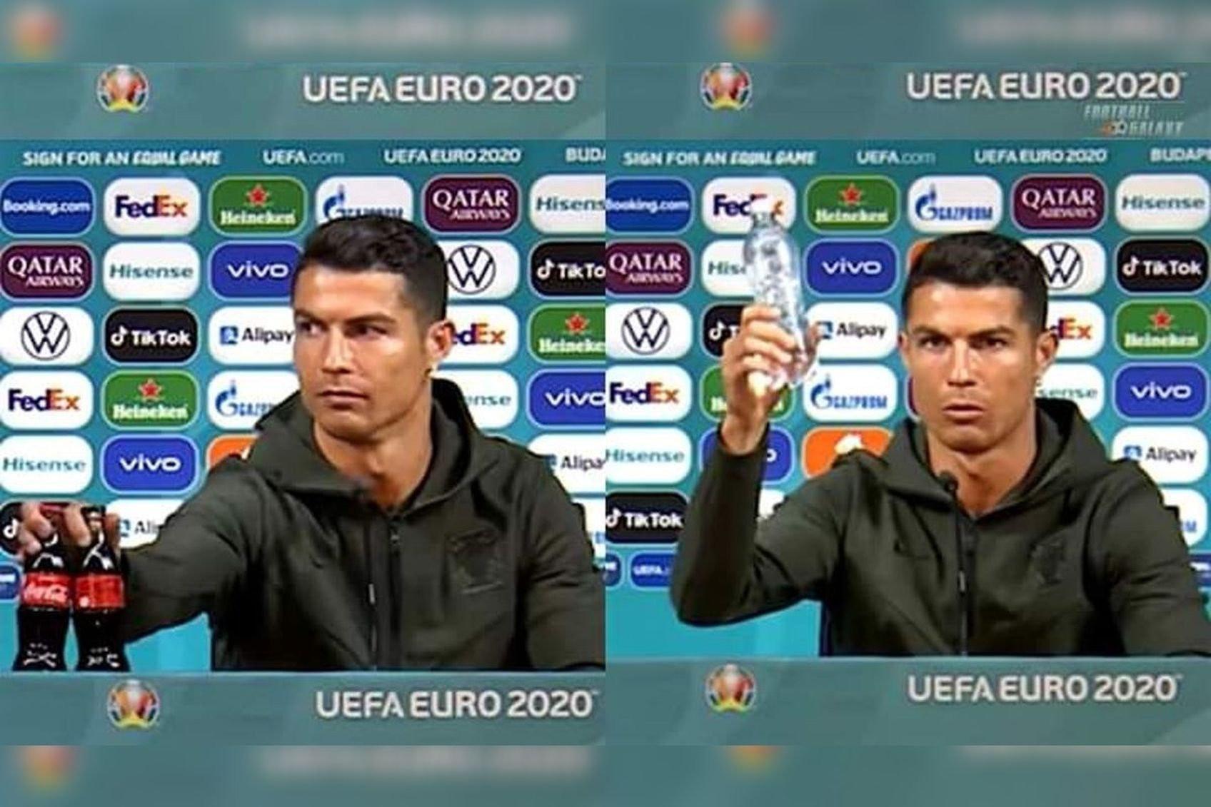 UEFA dọa phạt các đội nếu bắt chước Ronaldo gạt Coca-Cola-1