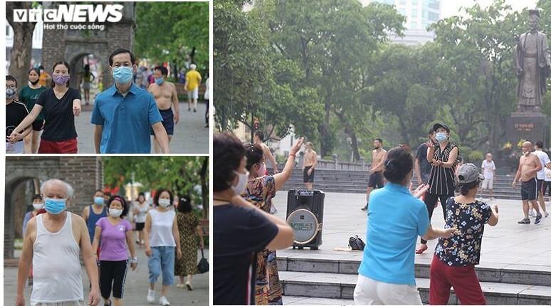 Người Hà Nội ra đường tập thể dục, nghiêm túc phòng dịch sau ngày giãn cách  - 6
