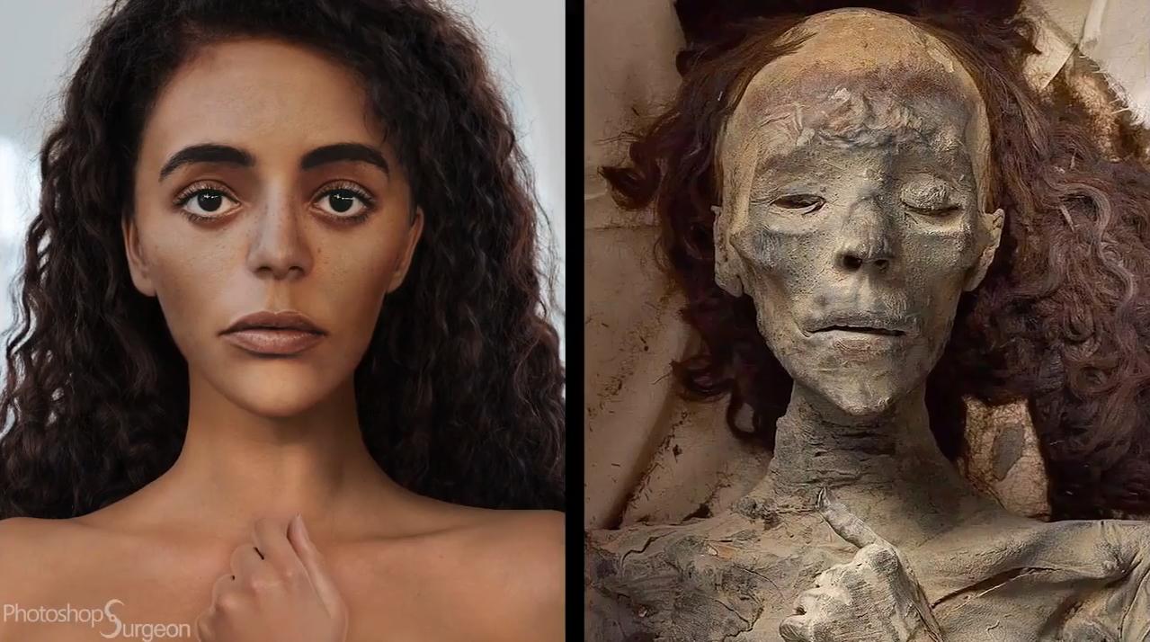 Dùng Photoshop để tái hiện chân dung Nữ hoàng Ai Cập từ hình ảnh xác ướp-1