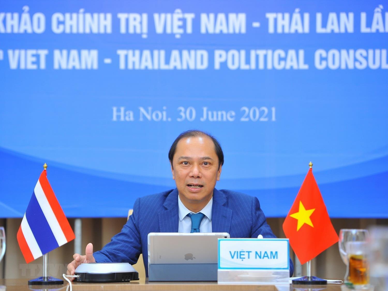 Thứ trưởng Bộ Ngoại giao Việt Nam Nguyễn Quốc Dũng chủ trì theo hình thức trực tuyến. (Ảnh: Minh Đức/TTXVN)
