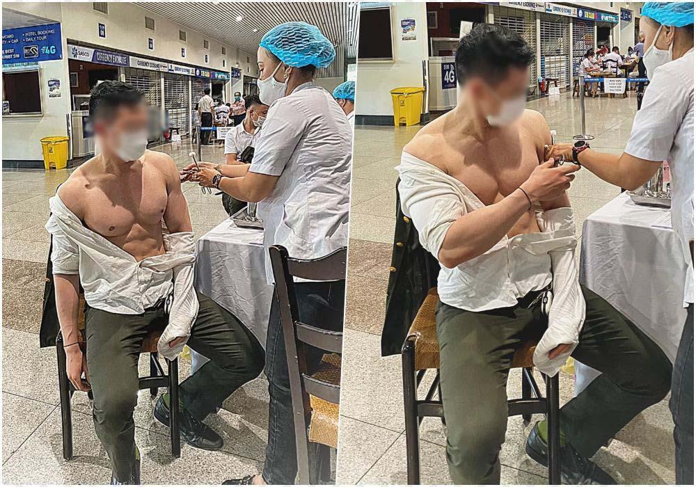 Giờ thì đến nam giới đi tiêm vaccine cũng khoe thân phản cảm!-1
