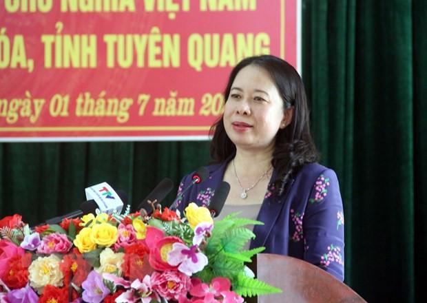 Pho Chu tich nuoc Vo Thi Anh Xuan tham va lam viec tai Tuyen Quang hinh anh 1
