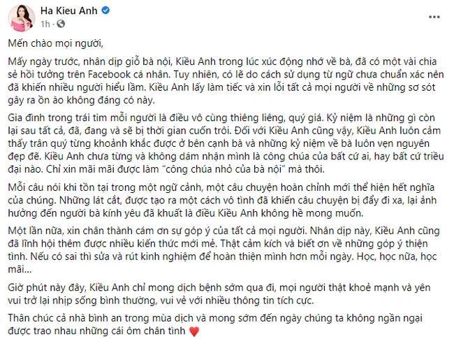 Hà Kiều Anh xin lỗi sau ồn ào gia thế công chúa đời thứ 7 triều Nguyễn-1
