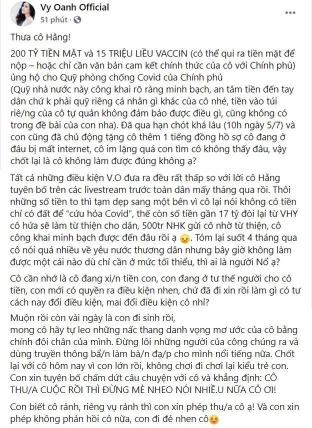 Tuyên bà Phương Hằng thua cuộc, Facebook Vy Oanh phủ icon phẫn nộ-3