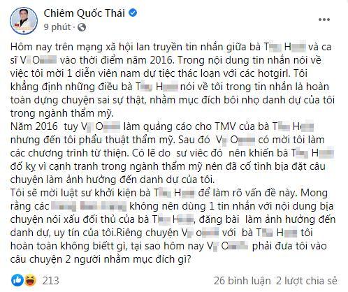 HOT: Chiêm Quốc Thái làm rõ tin tổ chức tiệc thác loạn, đòi kiện nữ doanh nhân-1