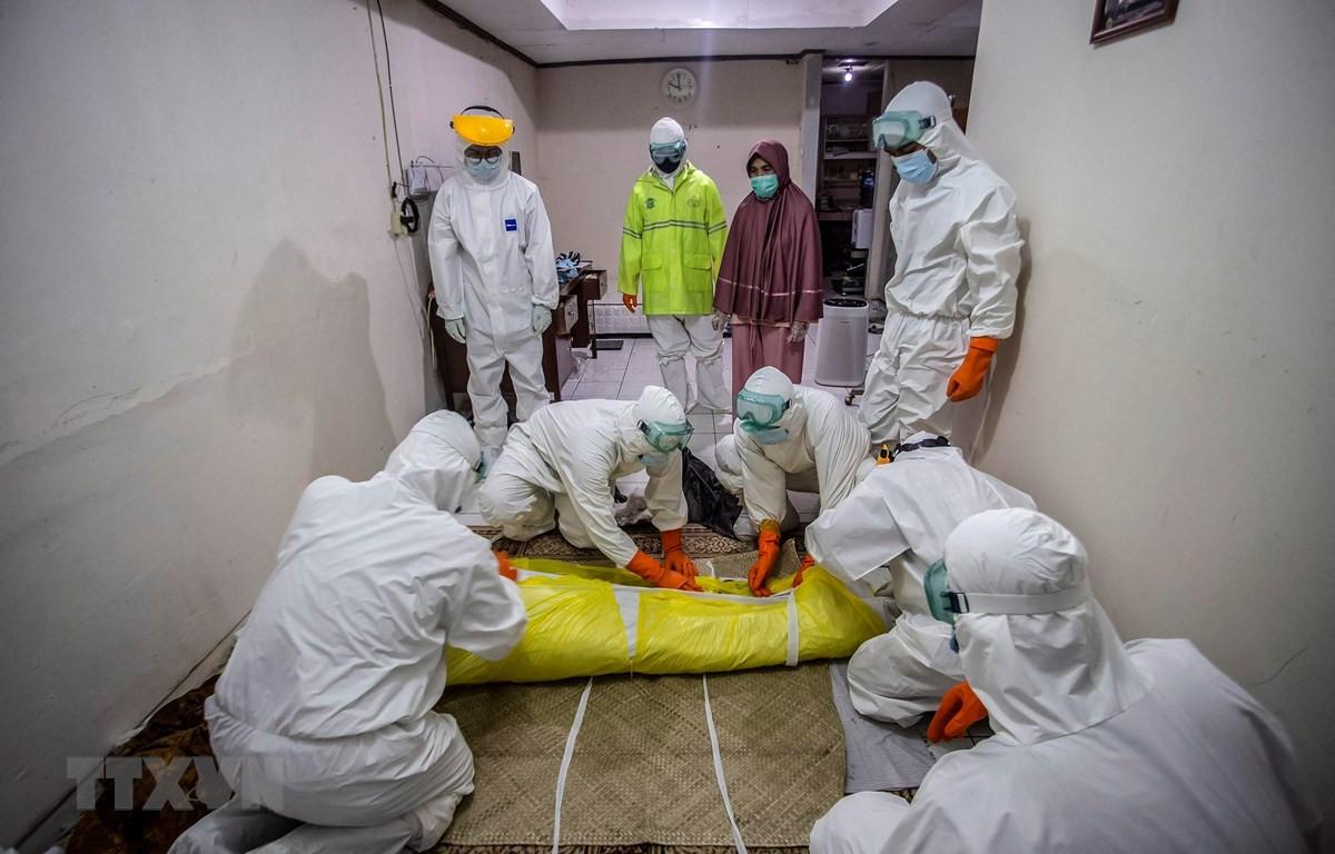 Nhân viên y tế chuyển thi thể bệnh nhân tử vong do COVID-19 tại Bogor, Tây Java, Indonesia, ngày 6/7/2021. (Ảnh: AFP/TTXVN)