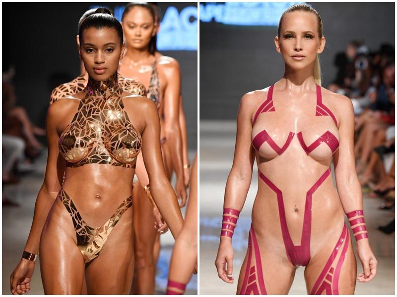 Buổi trình diễn bikini băng dính hở 80% cơ thể gây phản cảm-7