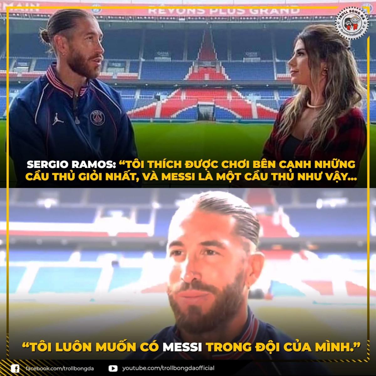 Sergio Ramos khao khát thi đấu cùng Messi (Ảnh: Troll bóng đá).