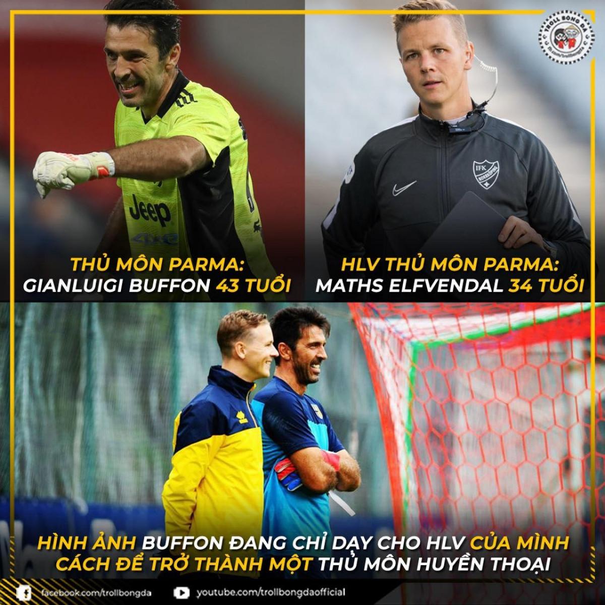 Buffon trở lại đội bóng cũ và làm việc cùng HLV thủ môn kém mình đến 9 tuổi. (Ảnh: Troll bóng đá)./.