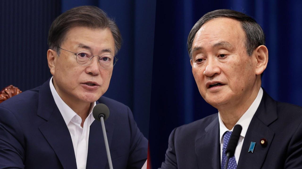 (07.21) Tổng thống Hàn Quốc Moon Jae-in và Thủ tướng Nhật Bản Suga Yoshihide lại thêm lần lỗi hẹn. (Nguồn: Yonhap)