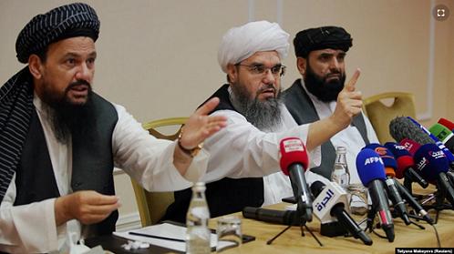 Phái đoàn Taliban tại cuộc họp báo ở thủ đô Moscow, Nga ngày 9/7. (Nguồn: Reuters)