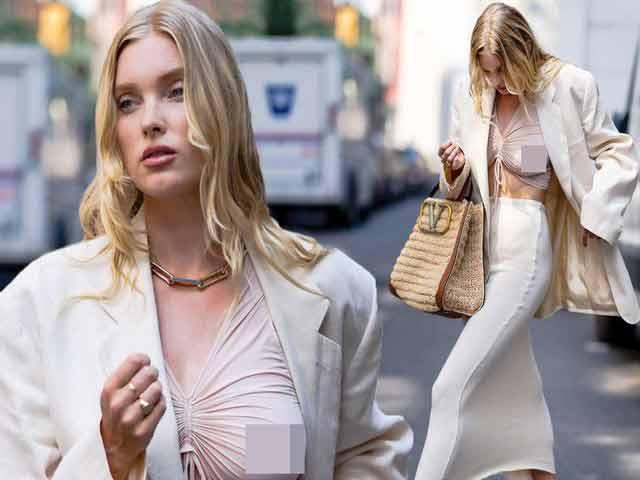 Siêu mẫu Elsa Hosk mặc blazer với chiếc áo xuyên thấu - 3