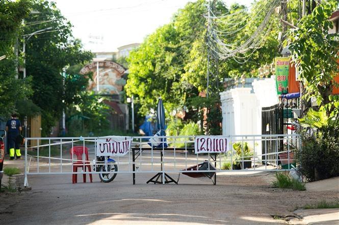 Một khu vực bị phong tỏa ở thủ đô Vientiane của Lào sau khi phát hiện các trường hợp Covid-19. (Nguồn: THX)
