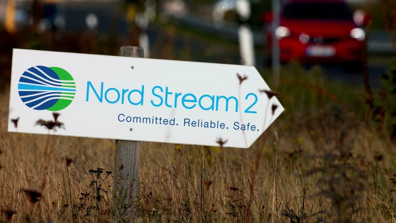 Biển báo chỉ dẫn lối đến đường dẫn khí đốt Nord Stream 2 ở Lubmin, Đức. (Nguồn: Reuters)