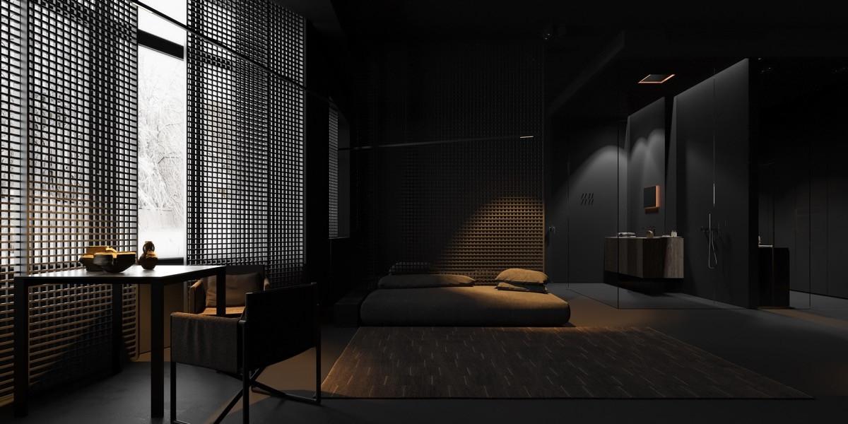 Một phòng ngủ hoàn toàn màu đen phù hợp với lối trang trí tối giản nhưng vô cùng hiện đại.