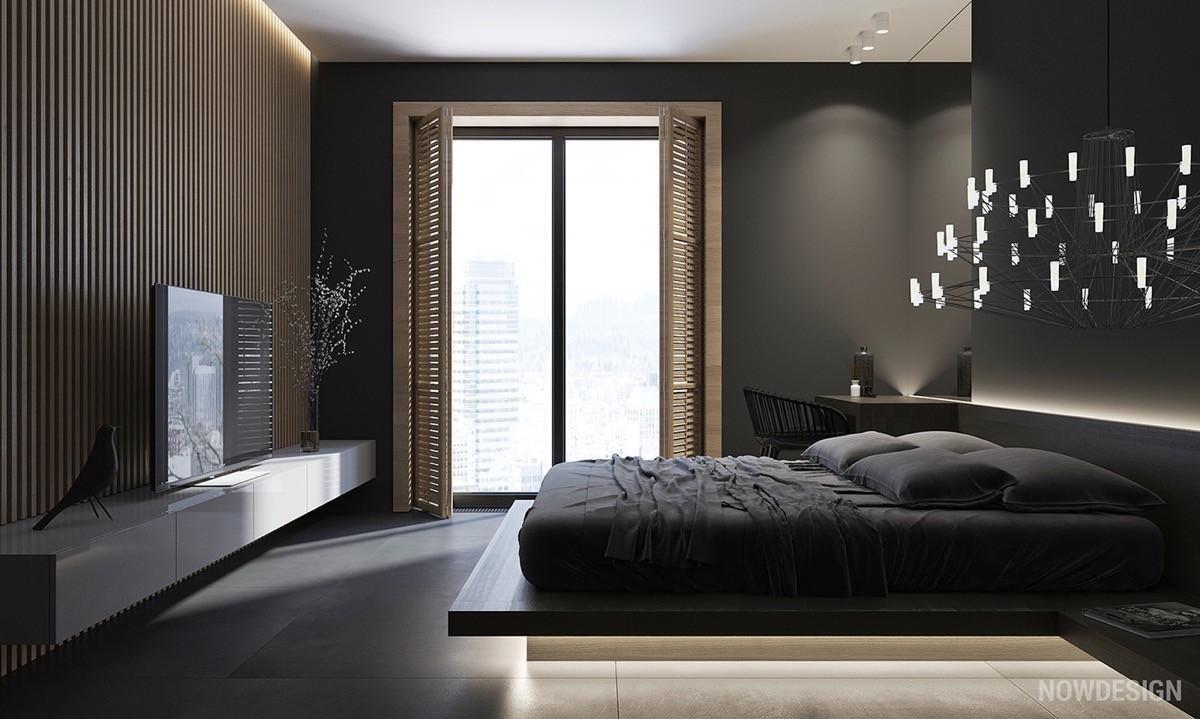 Thiết kế dải đèn Led sáng tạo là một cách giúp phòng ngủ tối màu thêm lung linh và thú vị.