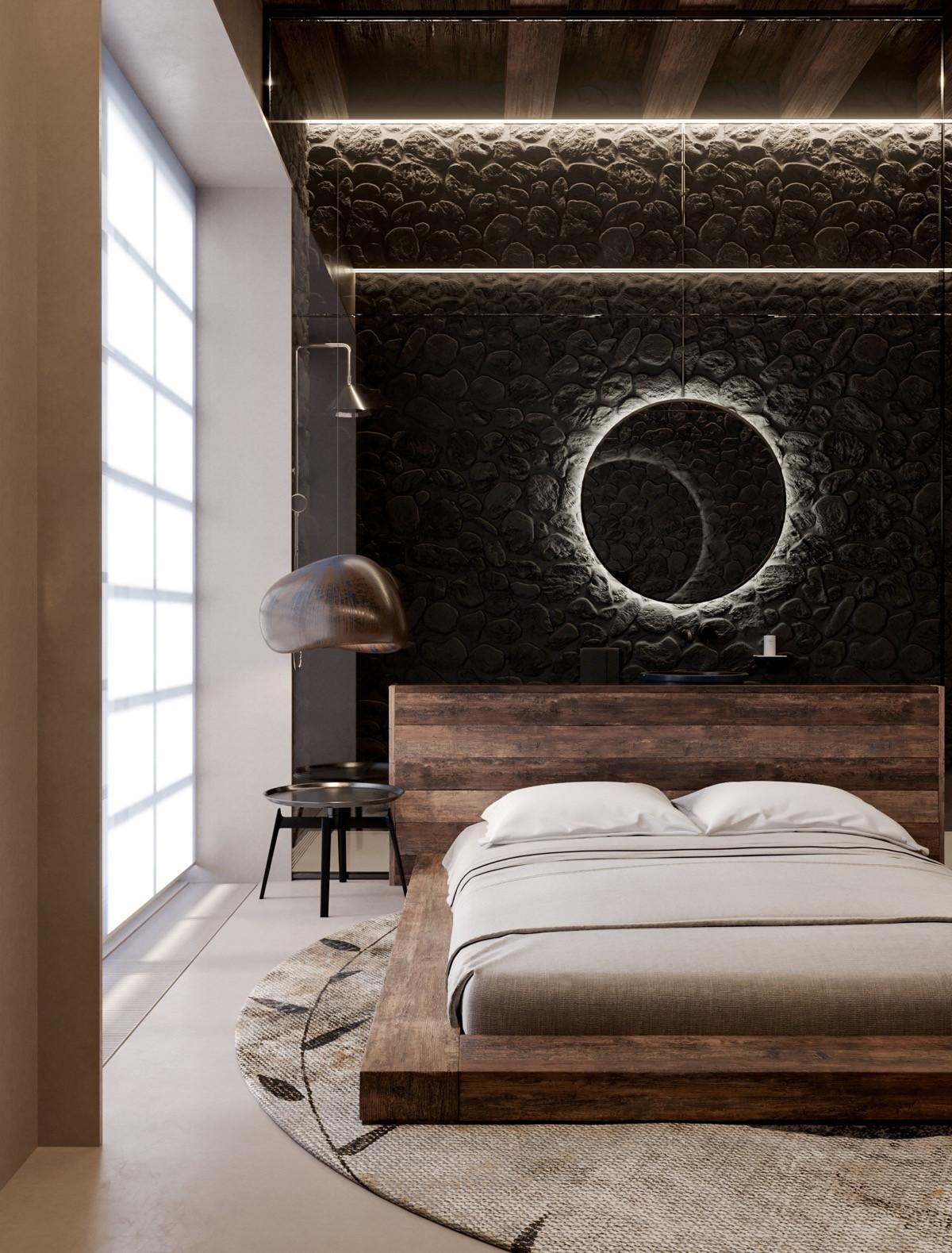 Nếu màu đen gây cảm giác choáng ngợp thì hãy cân nhắc thiết kế một bức tường có họa tiết, đừng quên bổ sung thêm ánh sáng nhé!