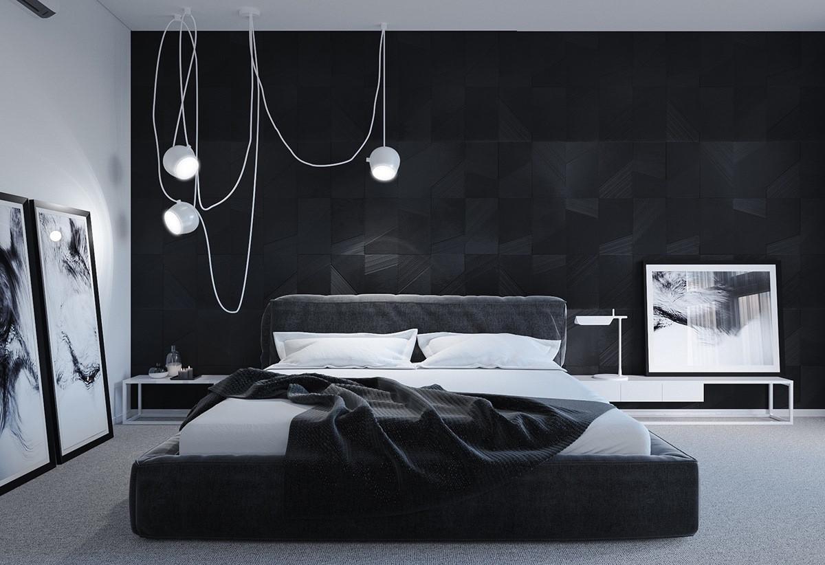 Một chút màu trắng sẽ giúp phòng ngủ màu đen trở nên nổi bật và tinh tế.