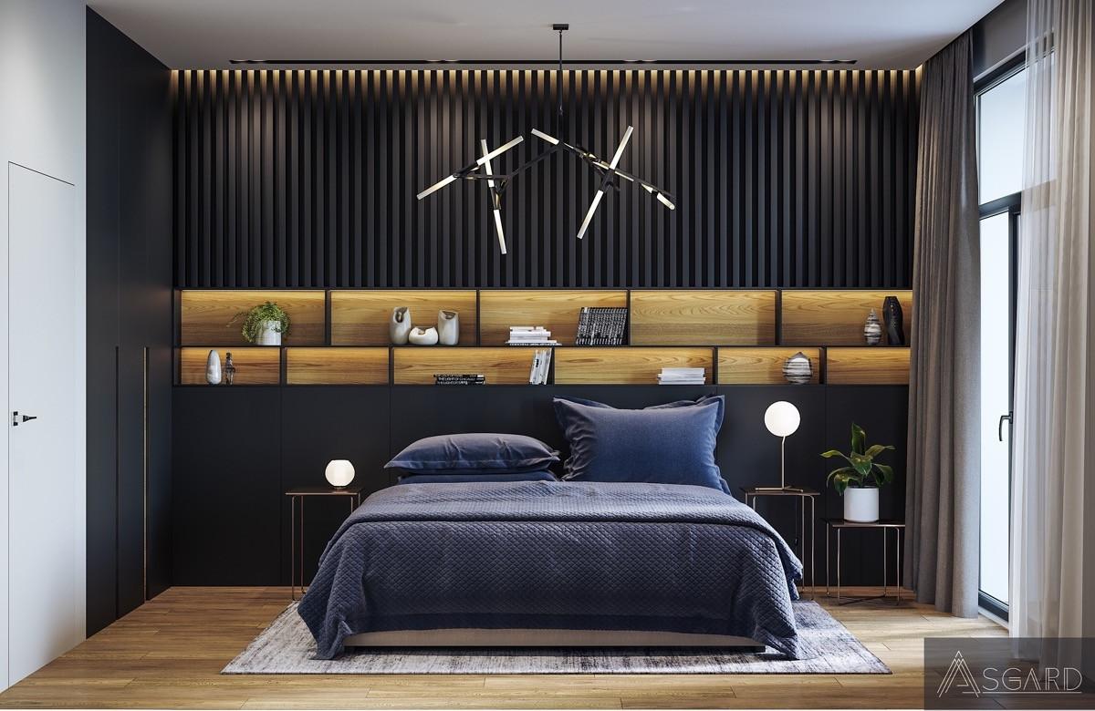 Một ý tưởng sáng tạo không kém trong phòng ngủ màu đen mang lại một không gian đầy lý tưởng và đẹp mắt.