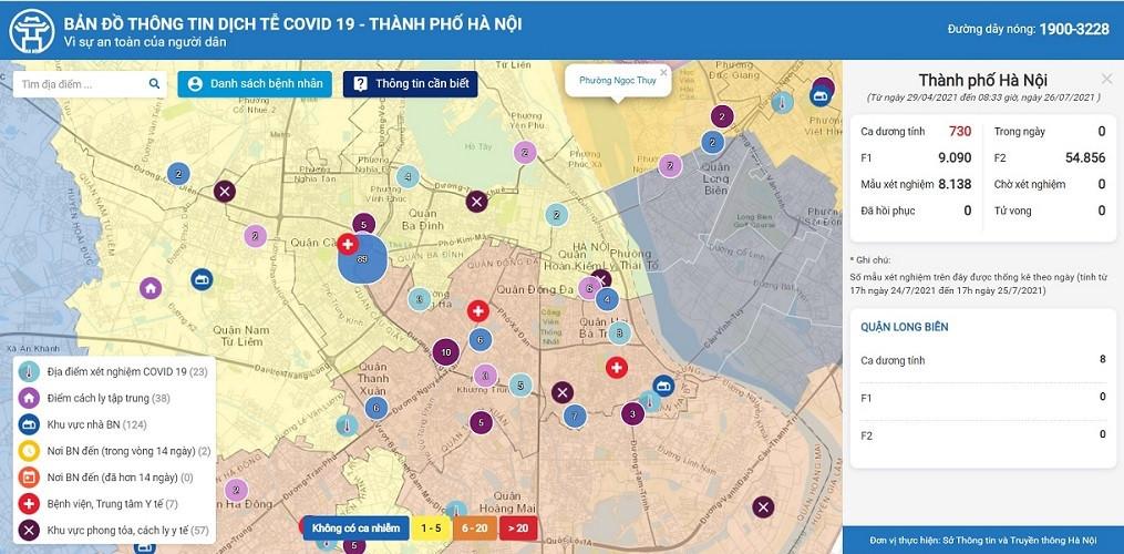 Xem bản đồ dịch tễ Covid-19 của Hà Nội mới nhất